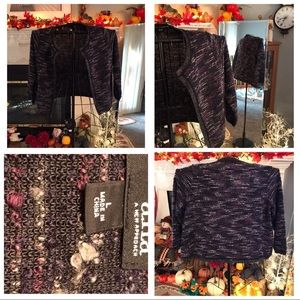 a.n.a. Size Large Purple & Black Top with Sparkle